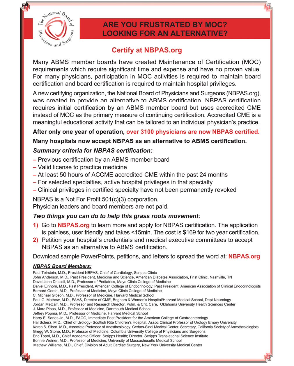 An Alternative Pathway to the ABPN Maintenance of