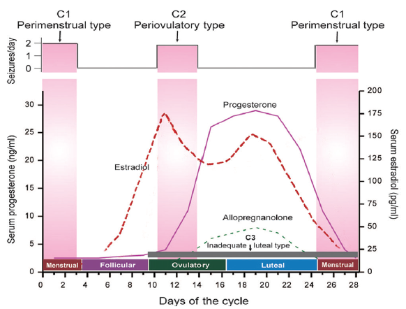 Figure 2. The relationship between seizure frequency and estradiol and progesterone levels. Reproduced with permission from Reddy DS. Catamenial epilepsy: discovery of an extrasynaptic molecular mechanism for targeted therapy. <em>Front Cell Neurosci.</em> 2016;10:101. doi: 10.3389/fncel.2016.00101 through the Creative Commons Attribution license 3.0.