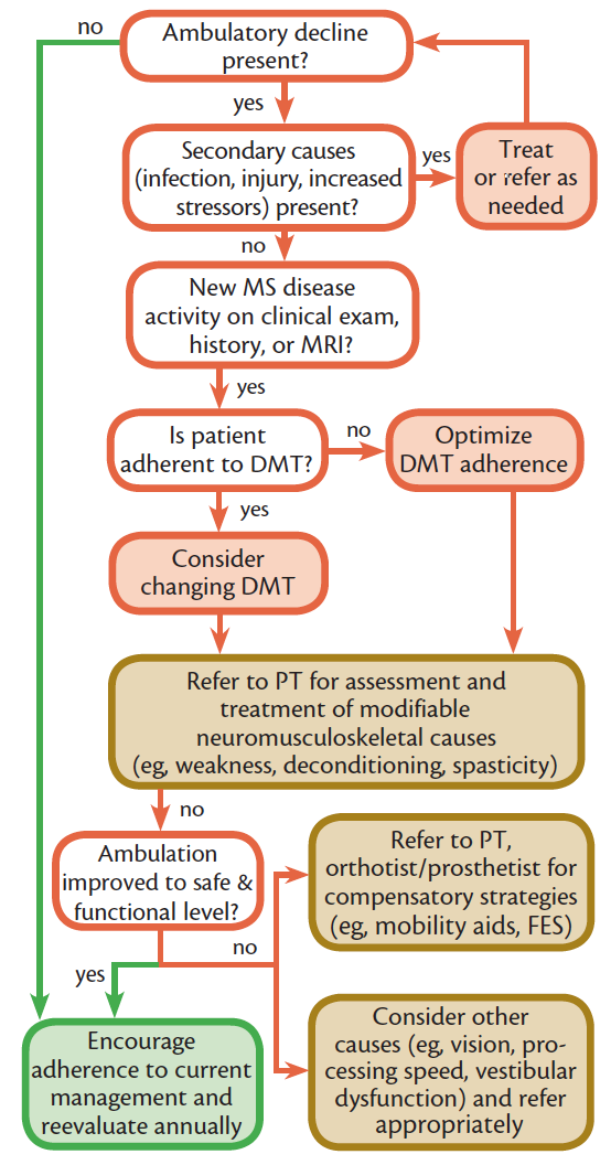 Figure 1. Algorithm for assessing and treating declines in ambulatory abilities. Abbreviations: DMT, disease-modifying therapies; FES, functional electronic stimulation MS, multiple sclerosis; OT, occupational therapy; PT, physical therapy.