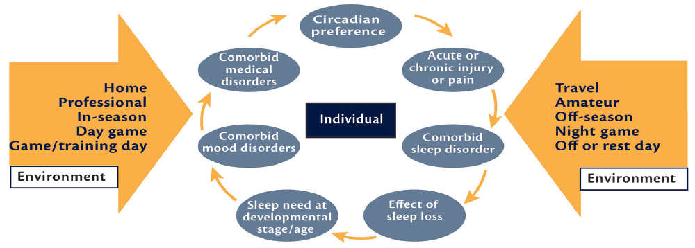 Figure 1. Factors that can influence, and in many cases impair, sleep in elite athletes include factors unique to the individual, their sleep hygiene, and health (blue ovals) and extrinsic environmental factors (large yellow arrows), many of which are engrained in sport