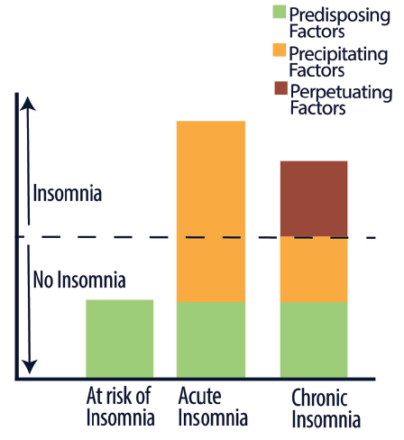Figure. Three Factors Contributing to the Development of Chronic Insomnia. Factors that contribute to insomnia may be predisposing (green), precipitating (gold), or perpetuating (red). Insomnia occurs only when the sum of these factors goes above a certain threshold (dashed line).